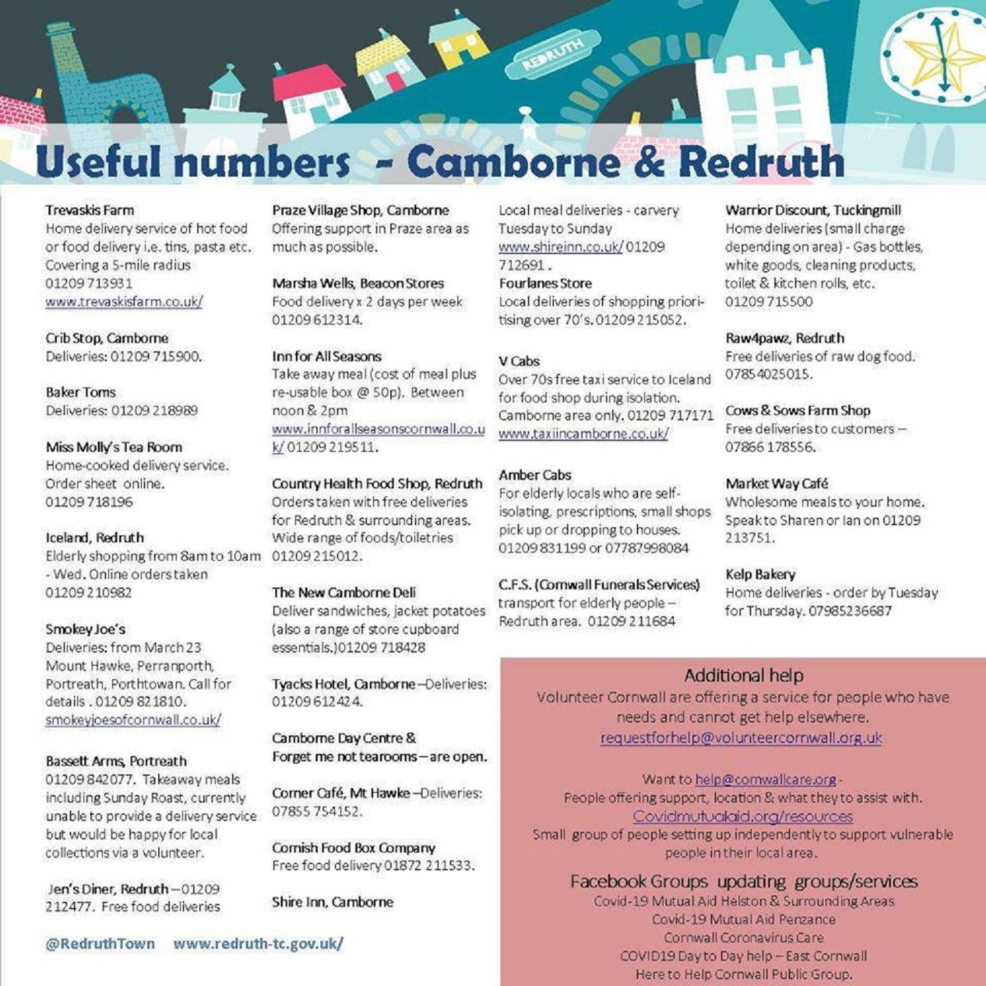 Useful numbers across Camborne, Redruth and Hayle