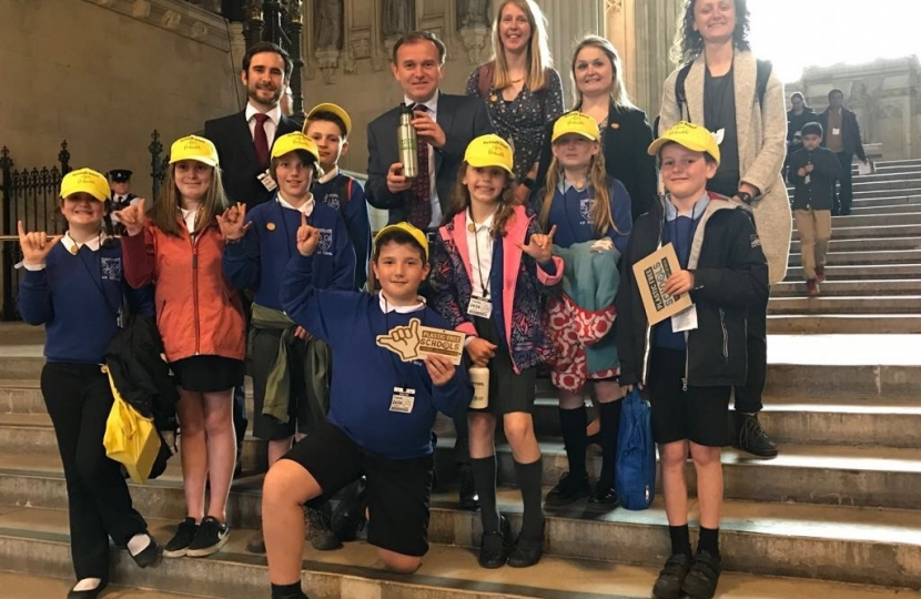 Meeting Portreath pupils in Parliament