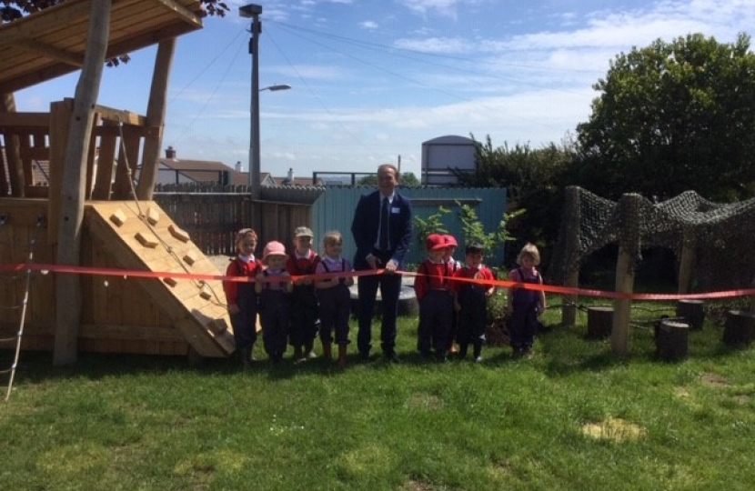 George opens new playground at Lanner Primary School
